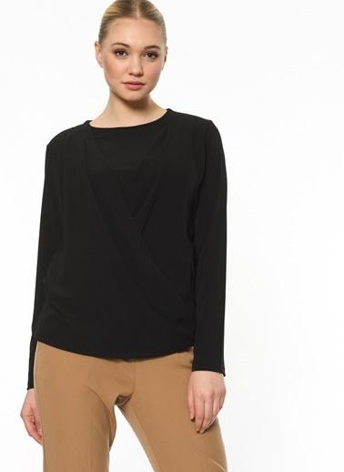 Butik Triko Uzun Kollu Anvelop Bluz Siyah